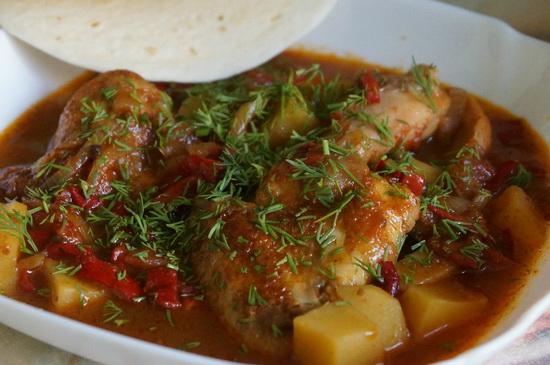Грузинский рецепт чахохбили из курицы с картошкой и без картошки в мультиварке 2