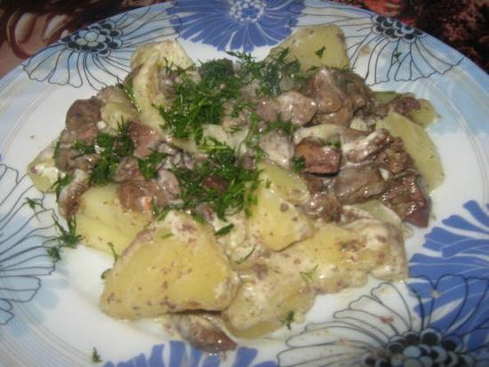 Картофель куриной печенью рецепт фото